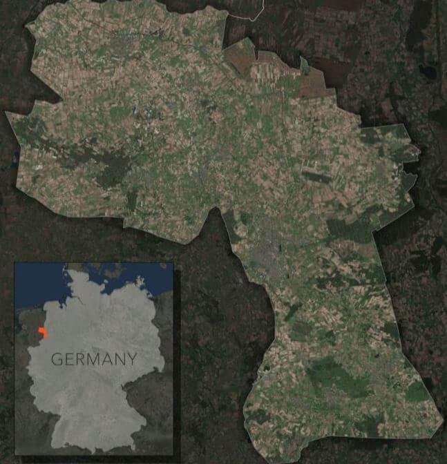 Rys. 2. Hrabstwo Bentheim graniczy z Holandią. Mapa: Jennifer Bell, Esri.