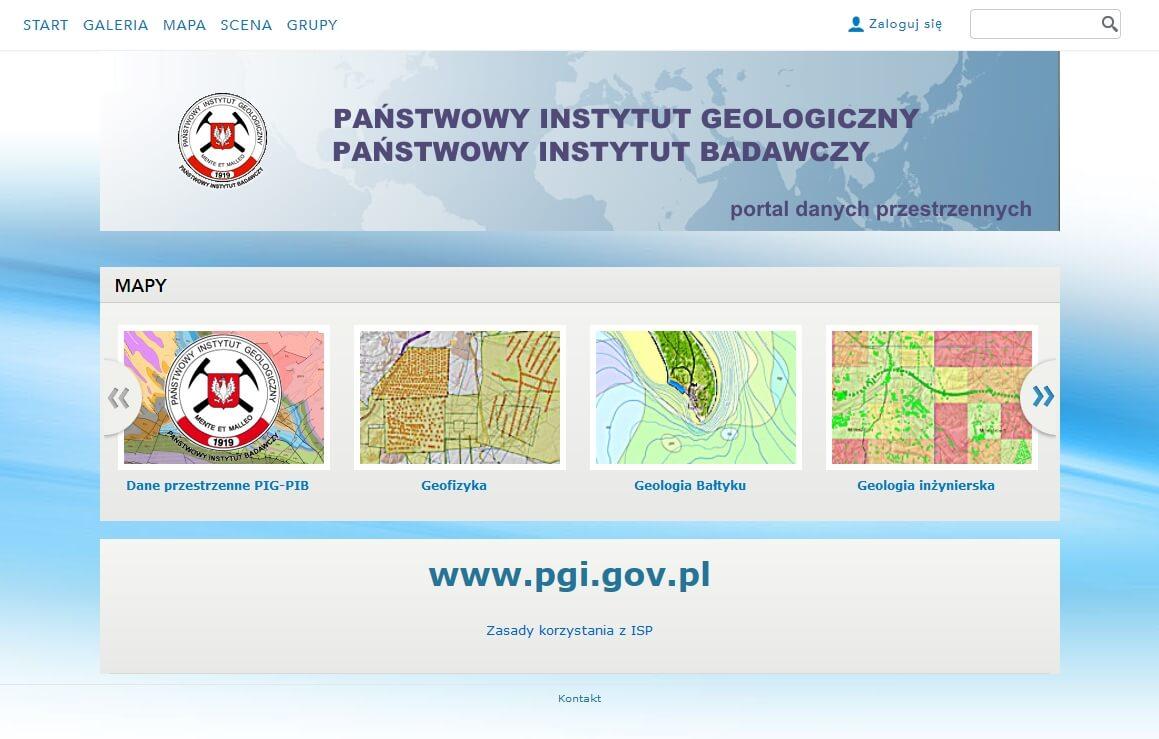 Rys. 1. Widok witryny Portal GEOLOGIA.