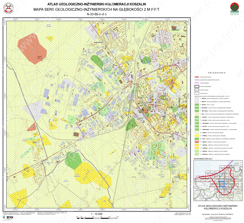 Rys. 2. W ramach realizacji projektu BDGI wykonano ponad 3200 arkuszy map geologiczno-inżynierskich w skali 1:10 000. Arkusze te są dostępne do pobrania z serwerów CBDG za pomocą kilku kliknięć. Widoczna przykładowa mapa serii geologiczno-inżynierskich na głębokości 2 m p.p.t.