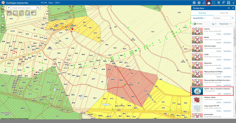 Rys. 3. PortalCBDG. Możliwość dodania do aplikacji tworzonej w Portal for ArcGIS zewnętrznej usługi WMS zawierającej dane katastralne z GUGIK znacząco ułatwia korzystanie z geologiczno-inżynierskich warstw informacyjnych.
