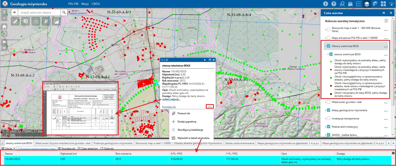 """Rys. 5. PortalCBDG. Widok aplikacji mapowej (Portal for ArcGIS) prezentujący warstwę otworów geologiczno-inżynierskich wraz z danymi opisowymi. Użytkownik może w sposób wygodny uzyskać informację o metryce poszczególnego punktu, jego tabeli atrybutów oraz pobrać profil otworu w postaci pliku pdfhttp://geologia.pgi.gov.pl, zakładka """"Budownictwo""""."""