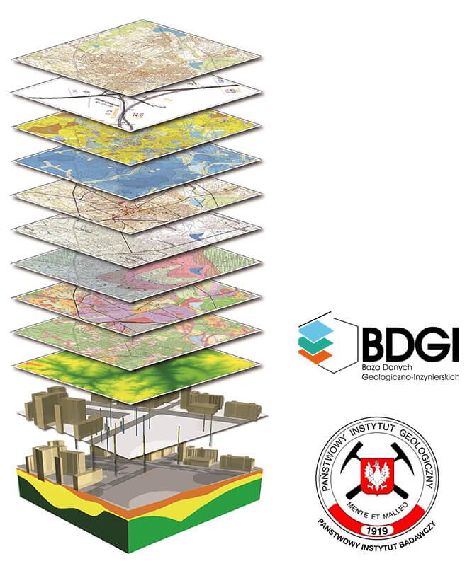 Rys. 1. Baza Danych Geologiczno-Inżynierskich (BDGI) jako źródło informacji, które umożliwia modelowanie i wizualizację warunków geologicznych pod największymi miastami Polski.