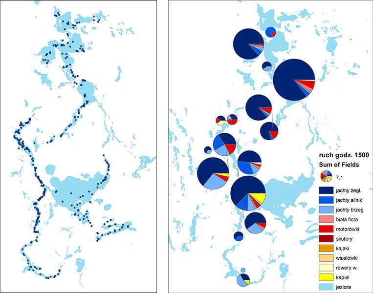 Rys. 4 .Wyniki obserwacji marszrutowych na Wielkich Jeziorach Mazurskich:. a) Lokalizacja wszystkich punktów obserwacji; b) Rodzaj aktywności i intensywność ich wykonywania o przykładowej godzinie.