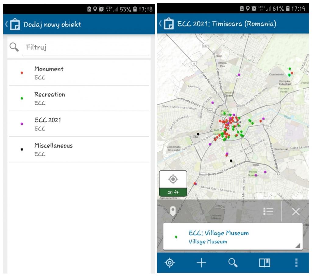 Rys. 1. Zrzut z ekranu aplikacji Collector for ArcGIS - tworzenie nowego punktu.