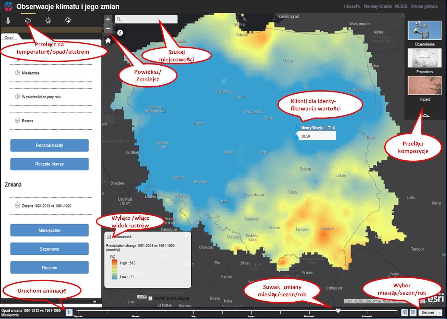 Rys. 3. Funkcjonalność aplikacji mapowej obserwacji historycznych klimatu Polski.
