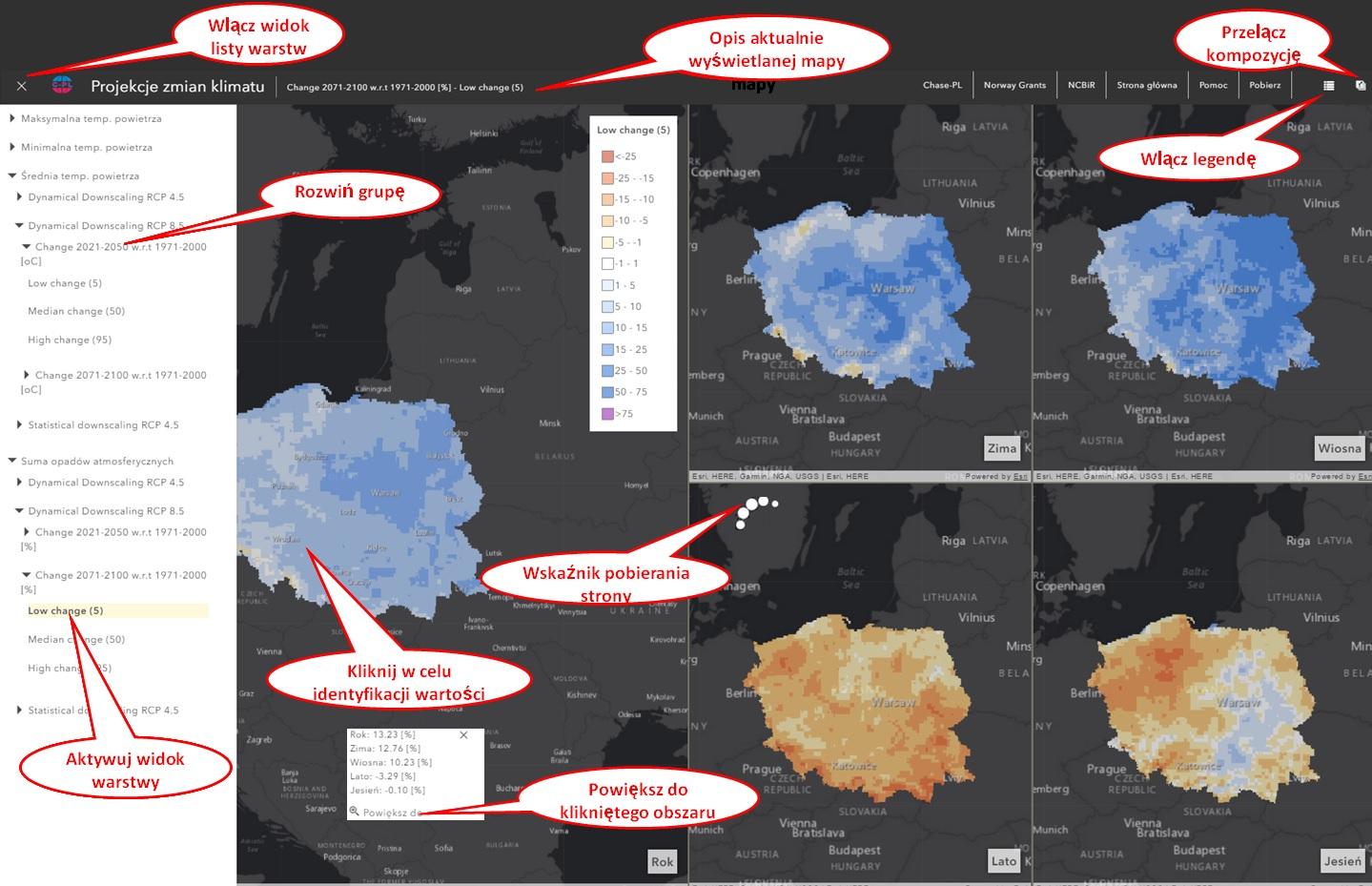 Rys. 4. Funkcjonalność aplikacji mapowej projekcji zmian klimatu dla obszaru Polski.