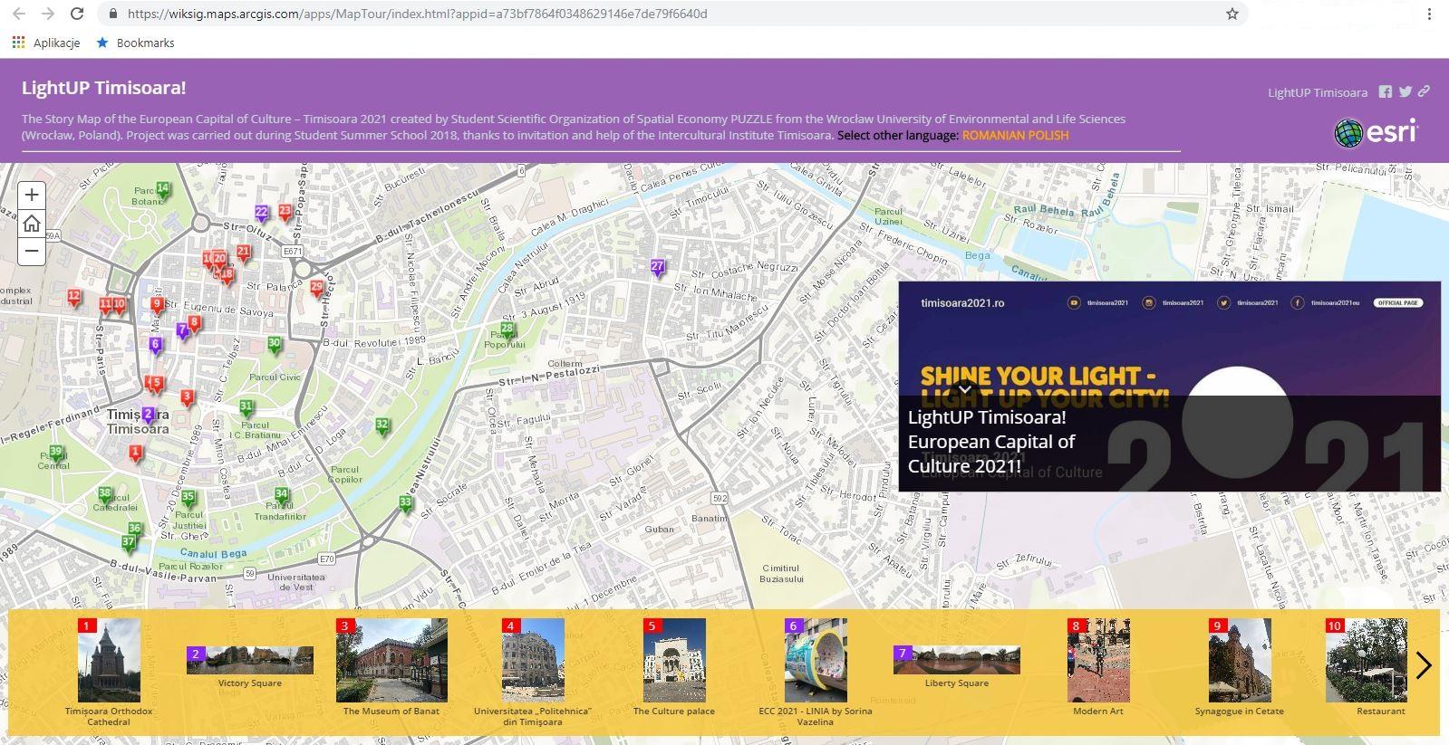Rys. 3. Zrzut ekranu z aplikacji Story Maps.