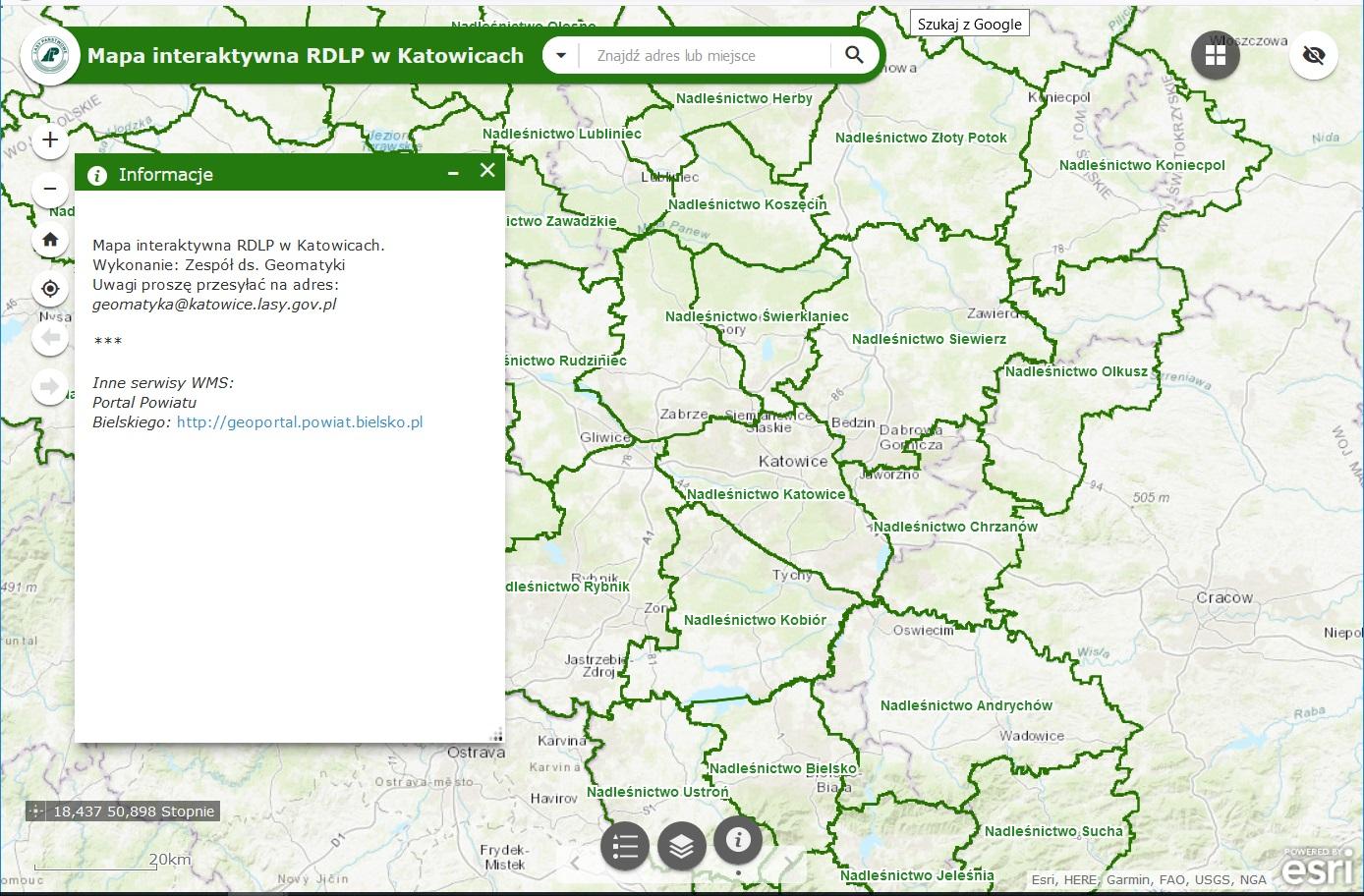 Rys.1. Mapa interaktywna RDLP w Katowicach.