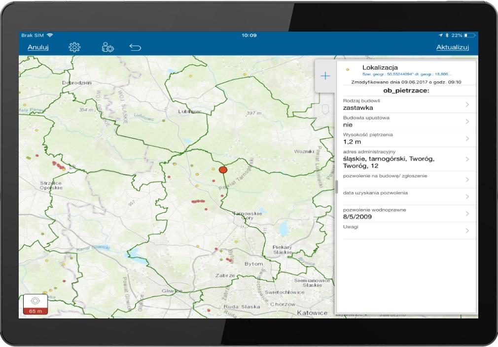 Rys.3. Inwentaryzacja w aplikacji Collector for ArcGIS (dostępna bezpłatnie w ramach ArcGIS Online).