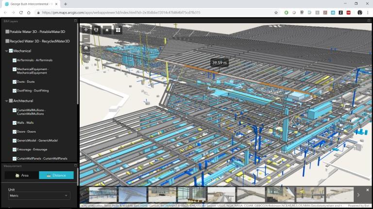 Rys. 2. Dane udostępnione przez George HW Bush Houston International Airport (zwizualizowane w Web AppBuilder) pokazują, że dane BIM po standaryzacji z wykorzystaniem narzędzi do sprawdzania poprawności rysunków można wprowadzać do systemu GIS. Informacje dotyczące procesu budowy zwykle widzimy w modelach BIM jeszcze zanim zobaczymy informacje związane z zarządzaniem nieruchomościami.