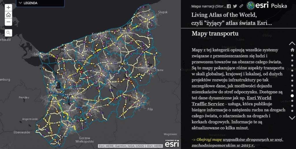 Rys. 2. Dane dotyczące sieci drogowej i natężenia ruchu dostępne w Living Atlas of The World.