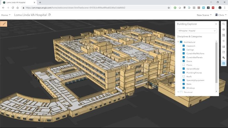 Rys. 4. Dzięki US Veterans Administration mogliśmy eksperymentować ze szpitalem jako warstwą Building Scene Layer, zachowując geometrię, atrybuty i semantykę w GIS.