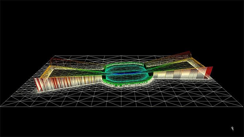 Rys. 1. Siatka 3D pasa startowego LAX 6L24R - zbudowana z pomocą przeglądarki 3D - pokazuje teren wraz z powierzchniami identyfikacji przeszkód (OIS - Obstruction Identification Surfaces).