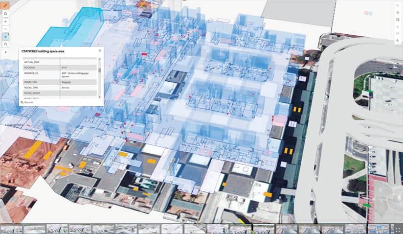 Rys. 2. Pracownicy działu usług GIS używają ArcGIS Pro do tworzenia modeli 3D obiektów budowlanych, projektowanych wewnątrz kompleksu lotniskowego, w tym stref odprawy pasażerów, poczekalni, ciągów komunikacyjnych i miejsc obsługi bagażu.
