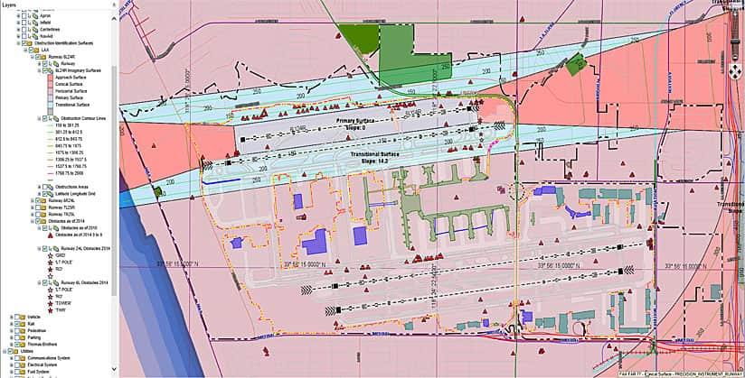 Rys. 3. W Los Angeles World Airports (LAWA), dział usług GIS wykorzystuje rozszerzenie ArcGIS for Aviation: Airports do tworzenia powierzchni identyfikacji przeszkód, które pokazują strefy podejścia, strefy przejściowe, strefy podstawowe i inne, aby pomóc lotnisku w określeniu, jak wysokie obiekty można budować bez powodowania powstawania przeszkód w przestrzeni powietrznej.