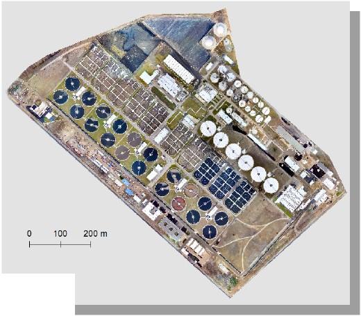 """Ryc. 3. Ortofotomapa dla oczyszczalni """"Czajka"""", opracowana w programie Drone2Map."""