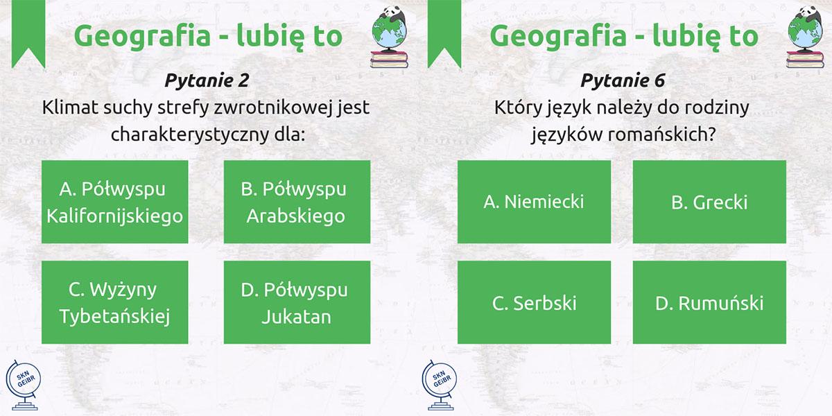 W ramach quizu pytania dla uczniów publikowane są na www.facebook.com/geografialubieto.