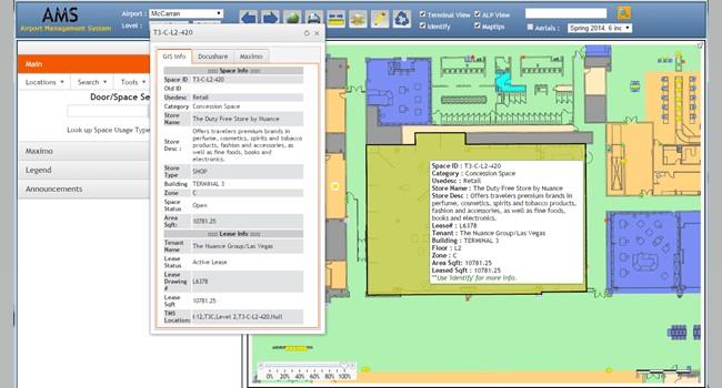Rys. 1. Aplikacja Airport Management System (AMS) na lotnisku McCarron umożliwia wszystkim pracownikom przeglądanie na mapie wszelkich zasobów i danych atrybutowych z systemu Maximo.