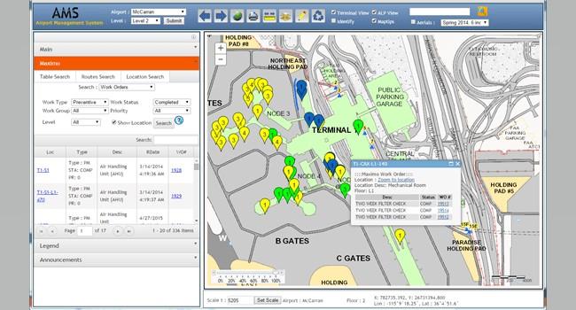 Rys. 2. AMS umożliwia personelowi lotniska dostęp do aktualnych informacji, takich jak przewidywany przepływ pasażerów, w oparciu o planowane przyloty i odloty. Personel może efektywnie zaplanować obsługę przepływów pasażerów.