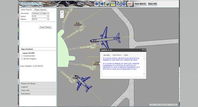Rys. 4. Korzystając z aplikacji internetowej obsługującej przypisanie bramki kontrolerzy ruchu lotniczego mogą łatwo i szybko przypisać samoloty do odpowiednich bramek dzięki dostępowi do informacji o lotach i ograniczeniach dla poszczególnych bramek.