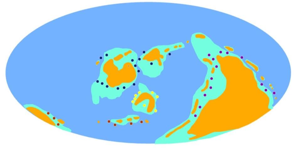 Ryc. 5. Lokalizacja szelfów w ordowiku.