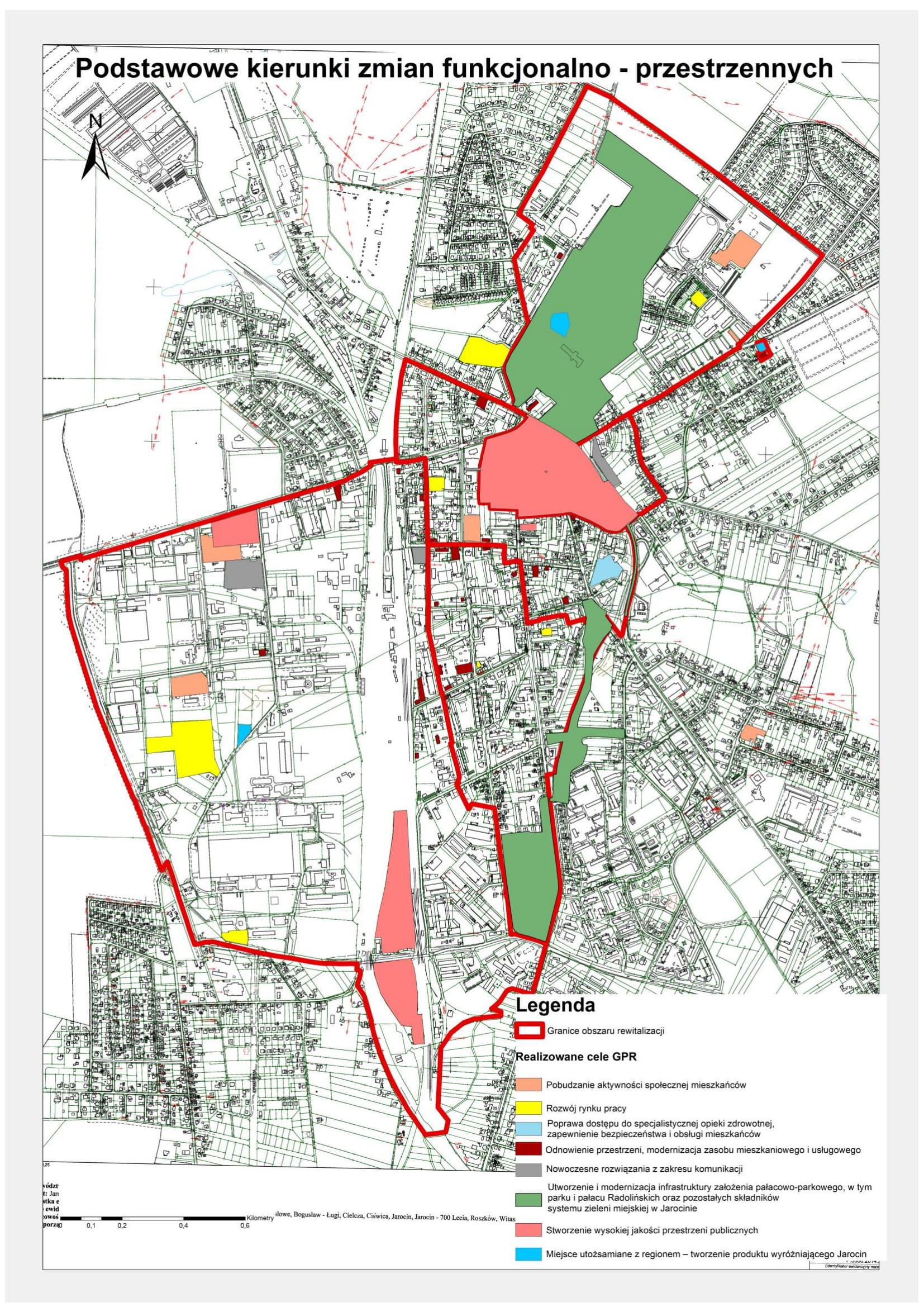 Rys. 1. Mapa podstawowych kierunków zmian funkcjonalno-przestrzennych.