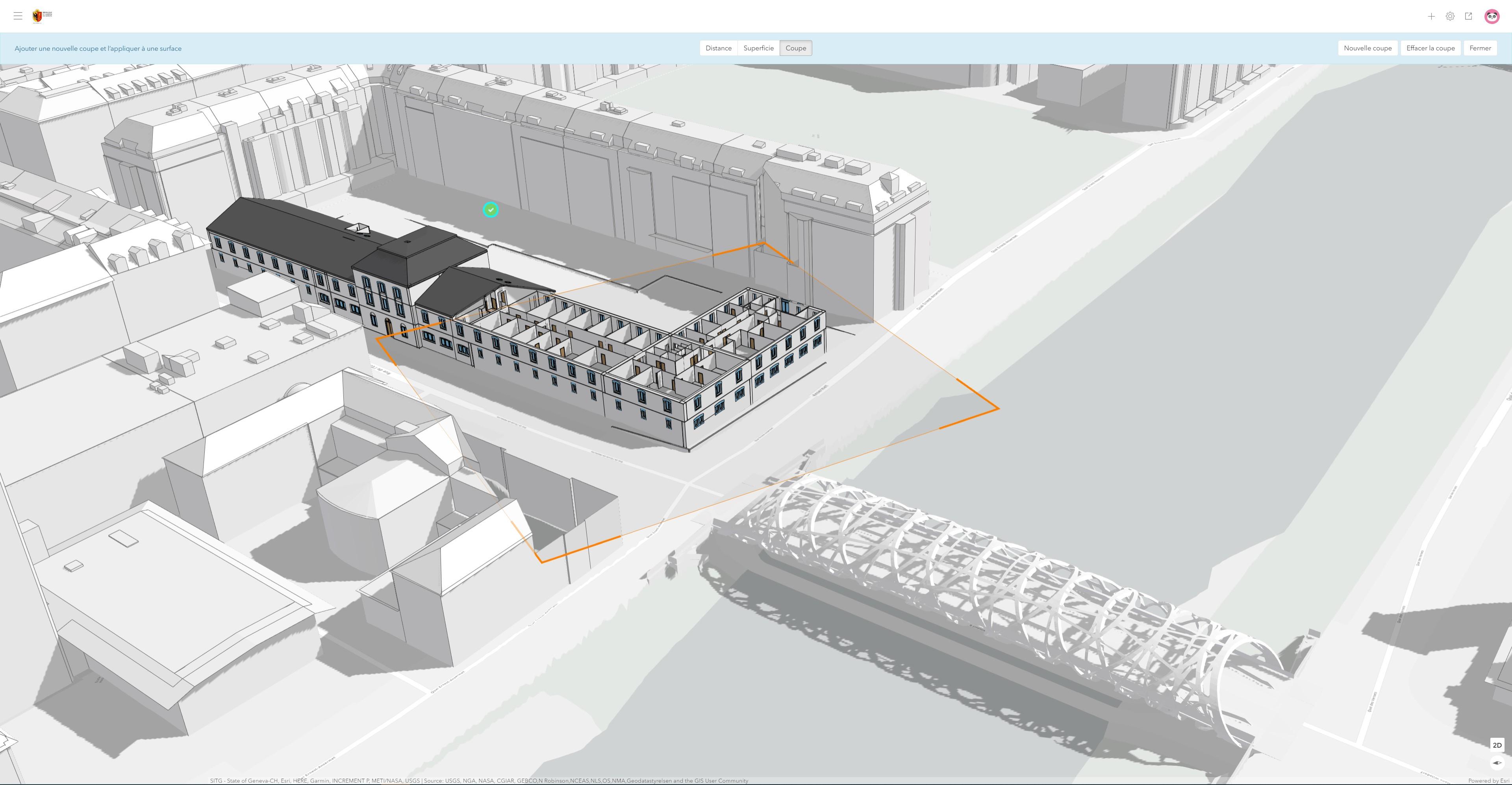 Rys. 1. Szczegółowy model mostu i starożytnego budynku Arsenału zwizualizowany w ArcGIS Urban.