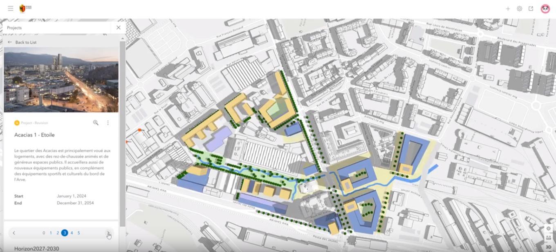 """Rys. 2. Różne fazy projektu """"Acacias - Etoile"""" przedstawione w ArcGIS Urban."""