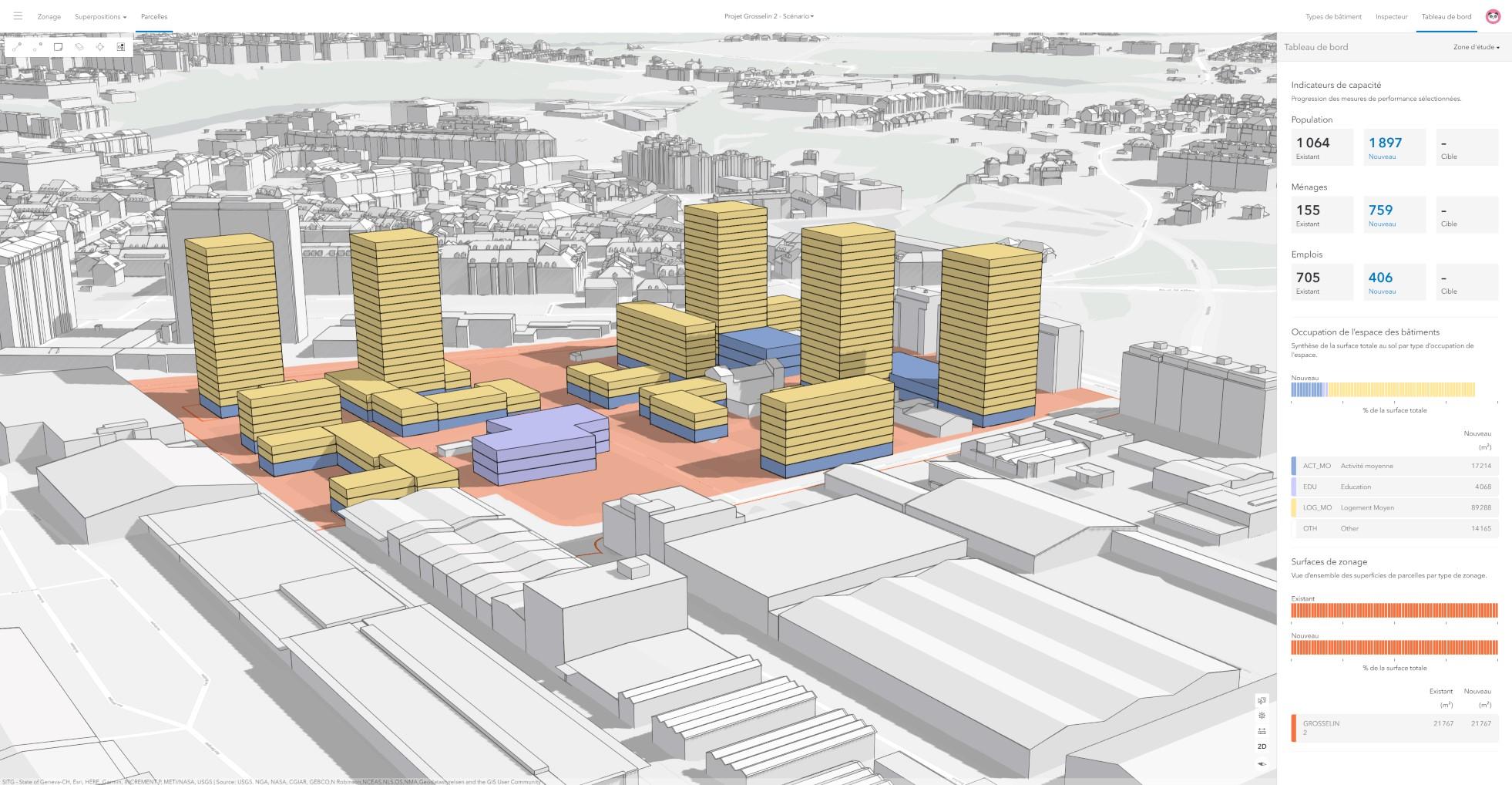 Rys. 3. Scenariusz projektowy projektu Grosselin z przewidywanymi budynkami i zaznaczonymi wskaźnikami pojemności.