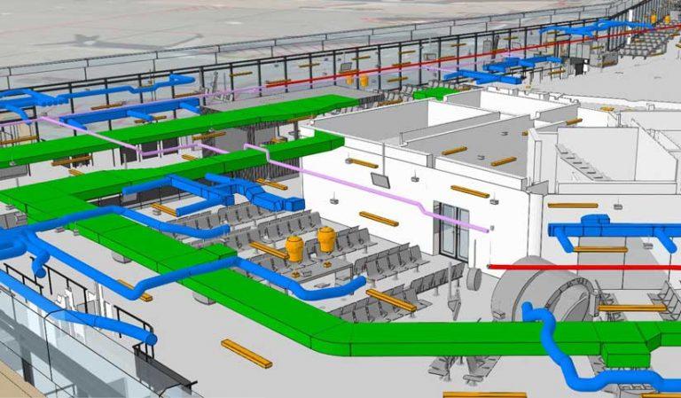 Rys. 1. Wycinek modelu BIM, przedstawiony w scenie internetowej ArcGIS, pokazuje systemy ogrzewania, wentylacji i klimatyzacji.