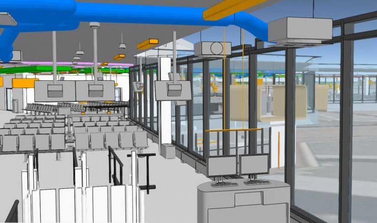 Rys. 2. Terminal na lotnisku Schiphol przedstawiony w scenie internetowej ArcGIS.