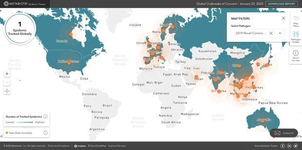Rys. 2. Metabiota zestawia dane z wielu organizacji służby zdrowia w celu śledzenia trwających epidemii. Posiada również informacje o tysiącach poprzednich epidemii. (Metabiota, Epidemic Tracker)
