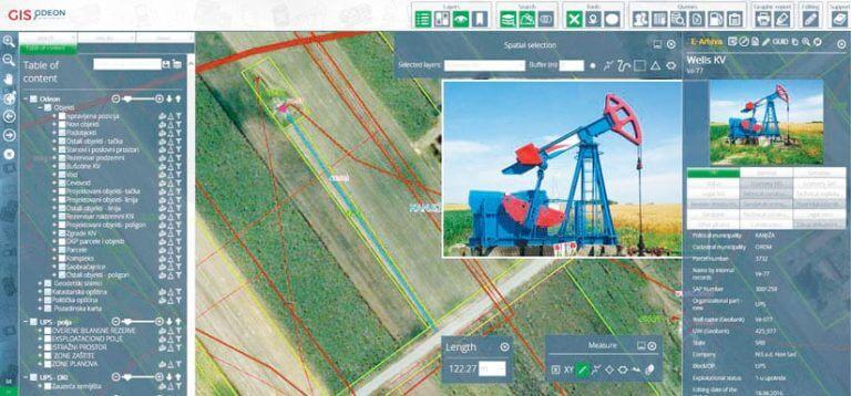 Rys. 3. GIS ODEON pomaga NIS planować nowe inwestycje, umożliwiając użytkownikom łatwy pomiar powierzchni i odległości pomiędzy różnymi obiektami.