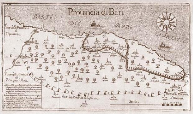 Rys. 3. Na najwcześniejszej udokumentowanej mapie zachorowań Fillipo Arrieta przedstawił strategię powstrzymywania rozprzestrzeniania się choroby w regionie Bari, Włochy 1690-92. (Controlling the Geographical Spread of Infectious Disease: Plague in Italy, 1347-1851)