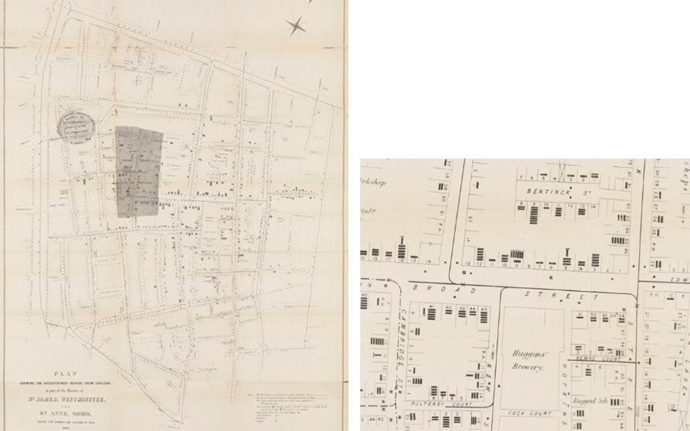 Rys. 5. John Snow, mapa pokazująca stwierdzone przypadki zgonów z powodu cholery. Czarne kreski przedstawiają pojedyncze zgony. (archiwa online Wellcome Collection)