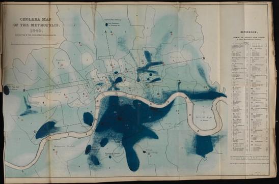 Rys. 6. Richard Grainger, Mapa cholery w Londynie1849-1850. (archiwa online Wellcome Collection)